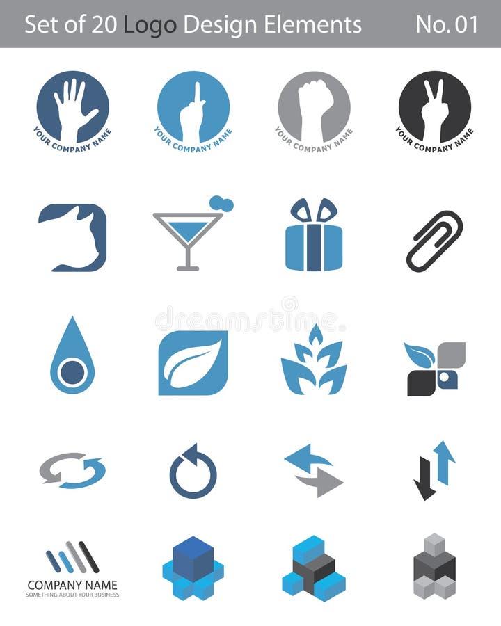 Set von 20 Zeichen-Elementen stock abbildung