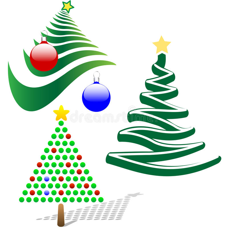 Set von 3 fröhlichen Weihnachtsbaum-Auslegung-Elementen vektor abbildung
