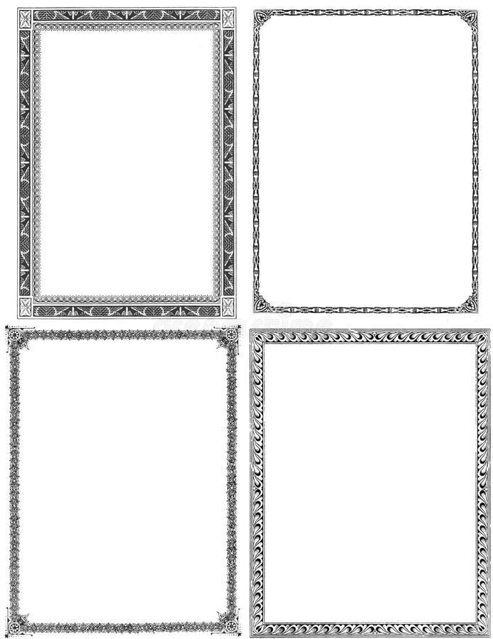 Set von 4 Weinlese-Feldern stock abbildung