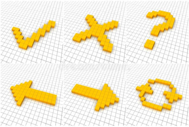 Set von 6 orange Ikonen stock abbildung