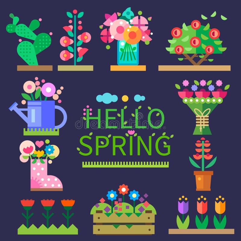Set von 9 Abbildungen der wundervollen mehrfarbigen Tulpen Abbildung für smellcomp vektor abbildung
