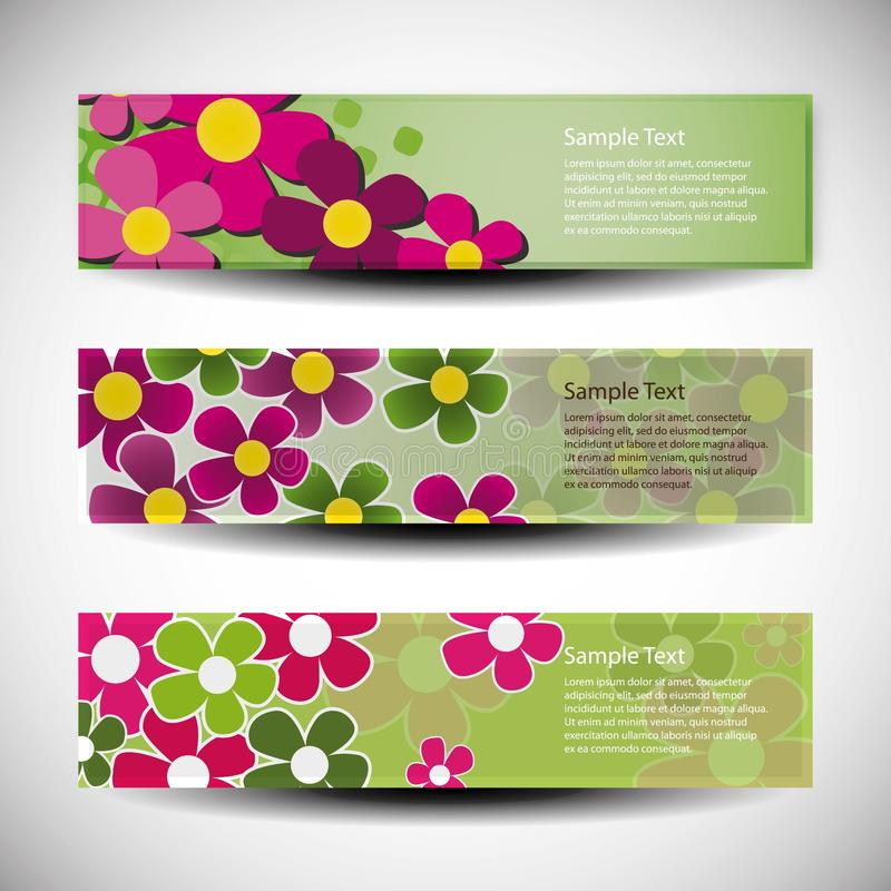 Set von drei Fahnenauslegungen mit Blumen