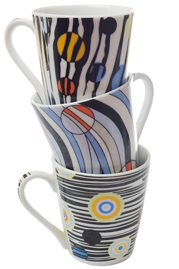 Set von drei Kaffeetassen stockfotos