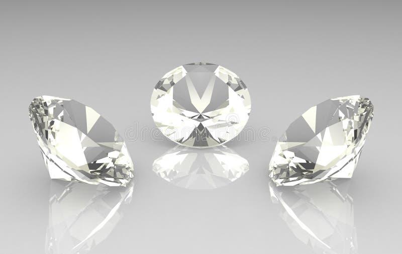 Set von drei schönen runden Diamanten lizenzfreies stockfoto
