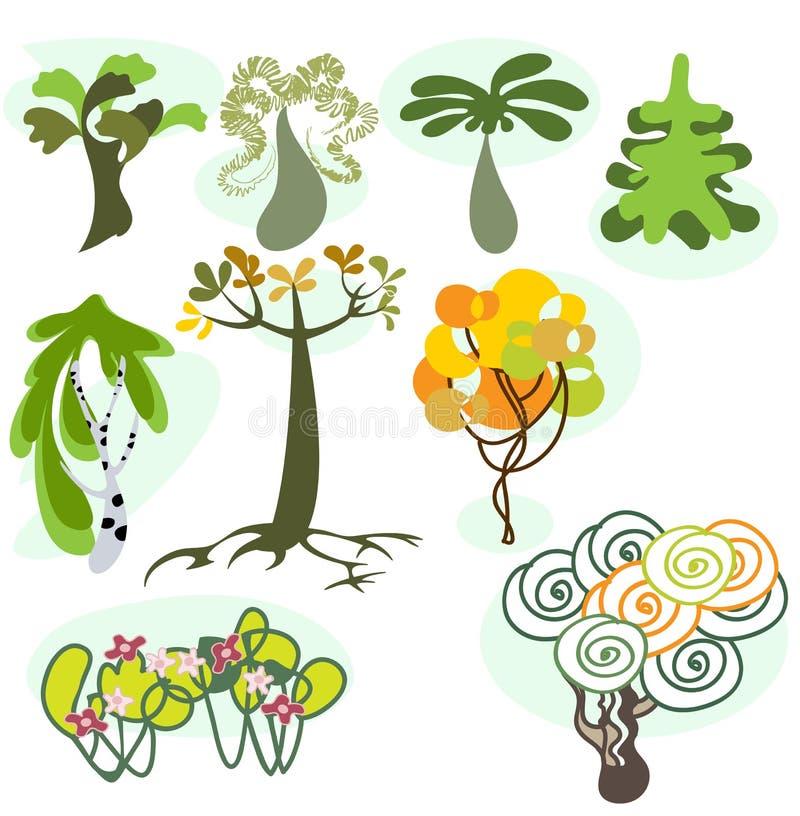 Set von neun verschiedenen Bäumen vektor abbildung