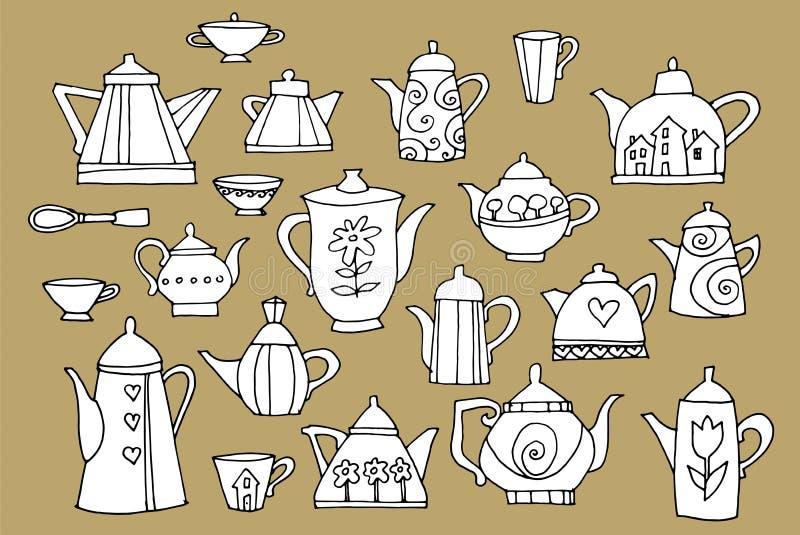 Set von Teekannen lizenzfreie abbildung