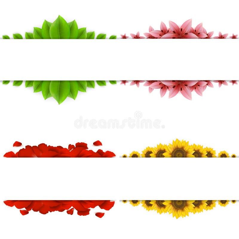 Set von vier Fahnen lizenzfreie abbildung