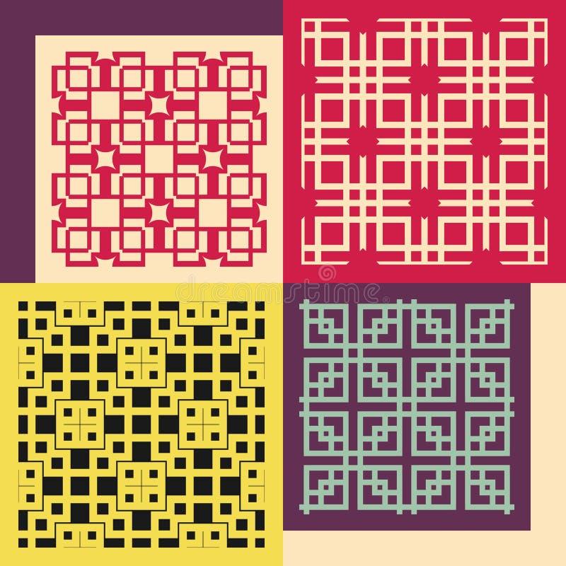 Set von vier nahtlosen Mustern Weinlese geometrisch vektor abbildung