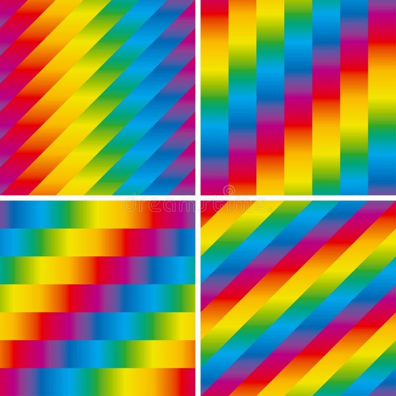Set von vier nahtlosen Regenbogenmustern lizenzfreie abbildung