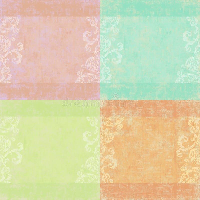 Set von vier schäbigen Blumenhintergründen stock abbildung