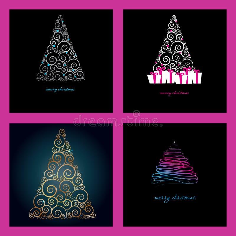 Set von vier schönen Weihnachtskarten lizenzfreie abbildung