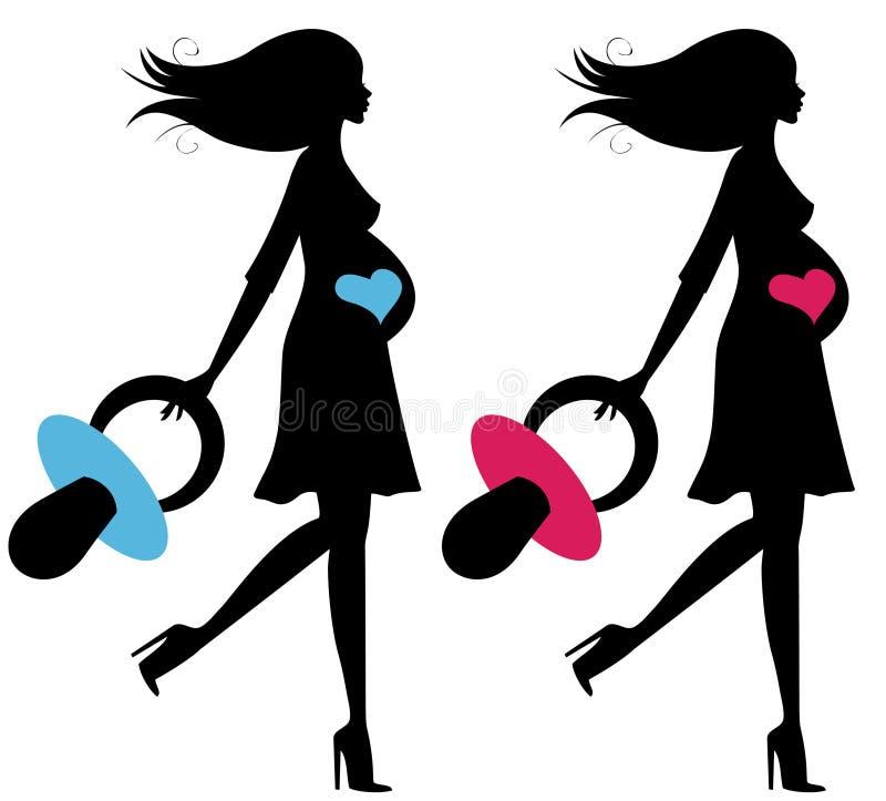 Set von zwei schwangeren Frauen lizenzfreie abbildung