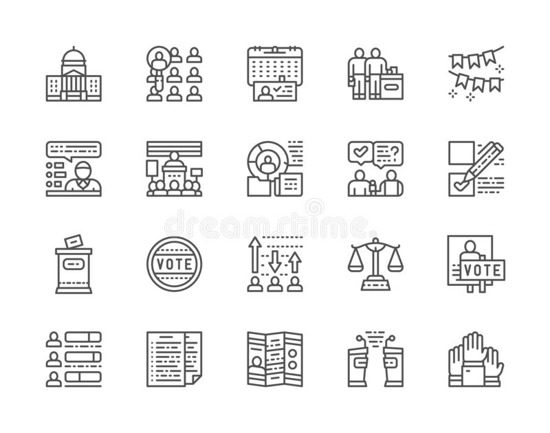 Set of Voting and Elections Line Icons. Politician, Debates, Vote and more. stock illustration