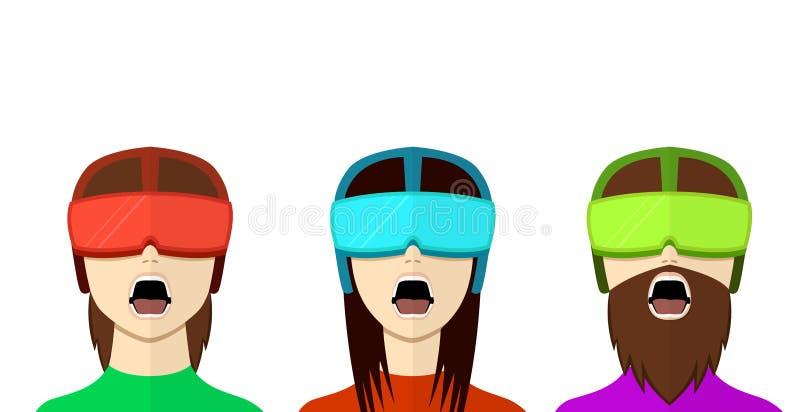 Set VR gamer w mieszkanie stylu, frontowy widok, wektor royalty ilustracja