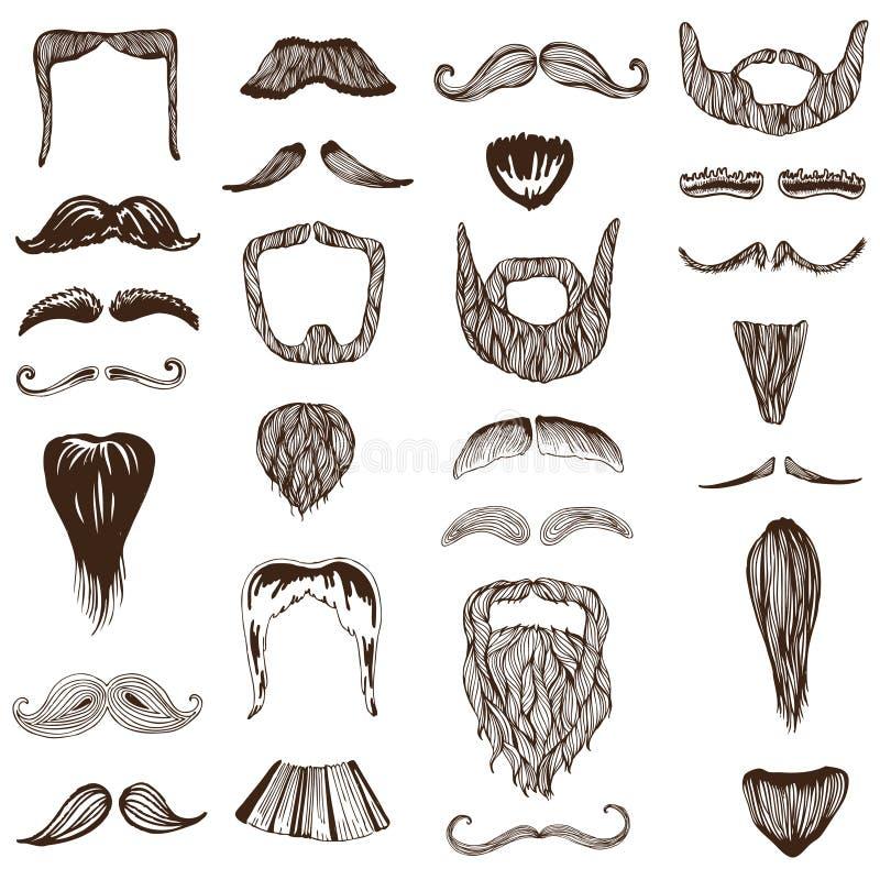 Set wąs, wąsy ręki rysujący/ ilustracja wektor