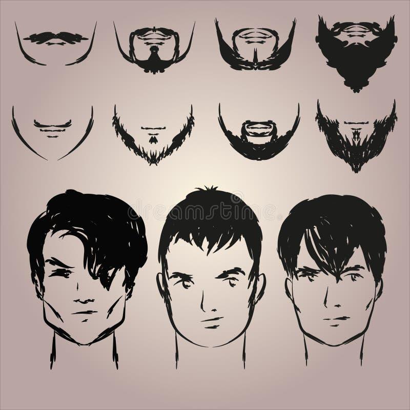 Set wąsy i brody royalty ilustracja