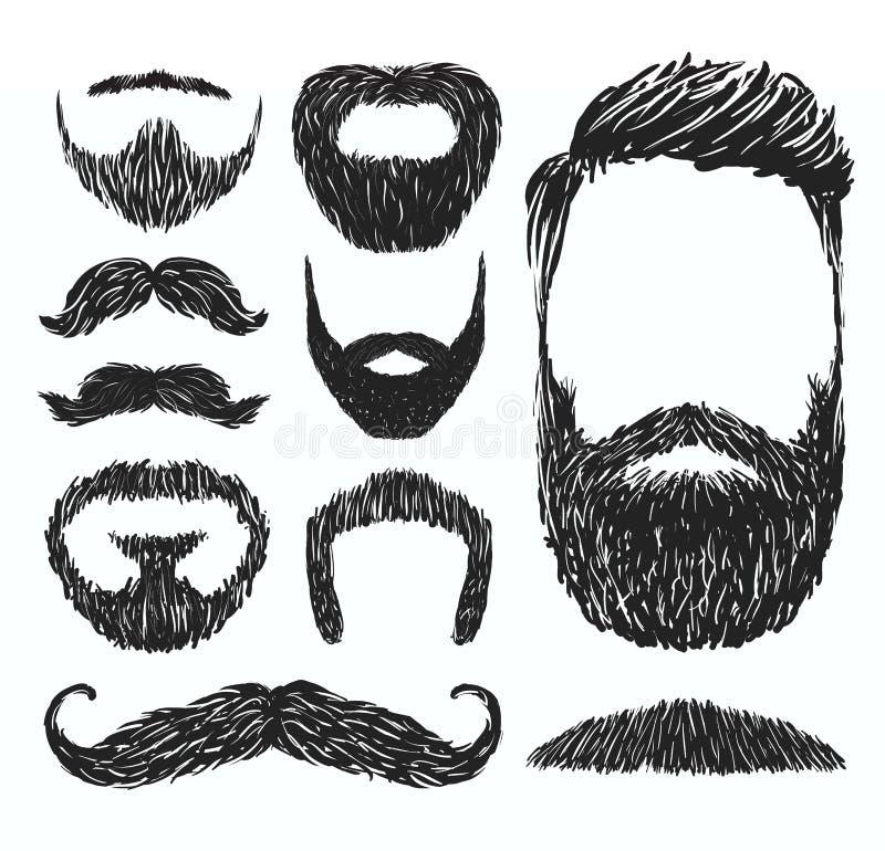 Set wąsy i brody sylwetki, wektorowa ilustracja royalty ilustracja