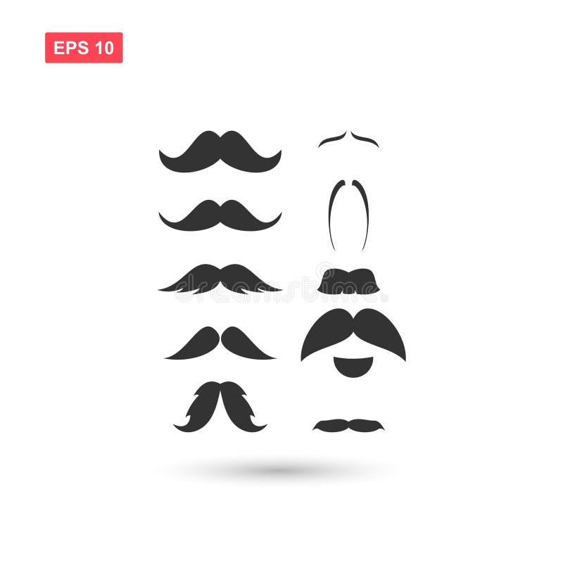 Set wąsy wektorowa ikona odizolowywająca royalty ilustracja