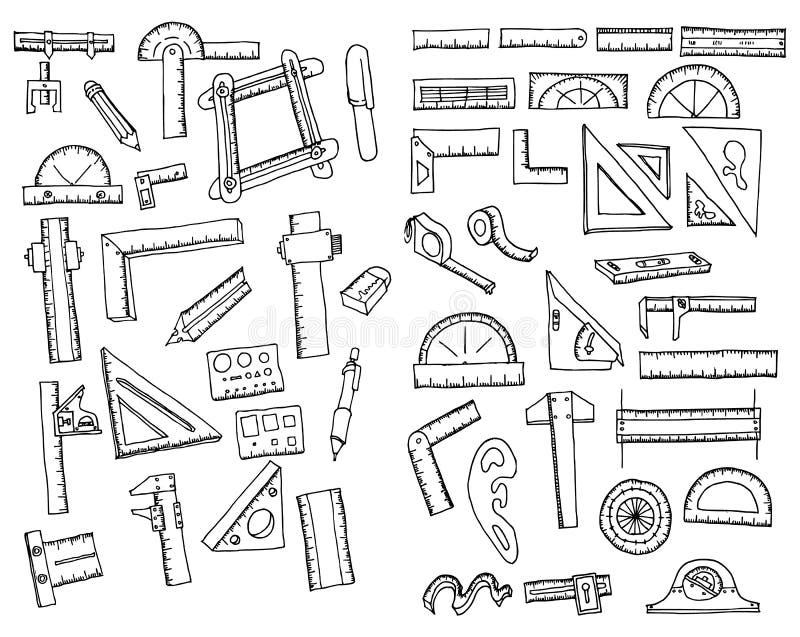 Set władcy doodle nakreślenia linii Rysunkowa ilustracyjna ręka rysujący wektor eps10 ilustracja wektor