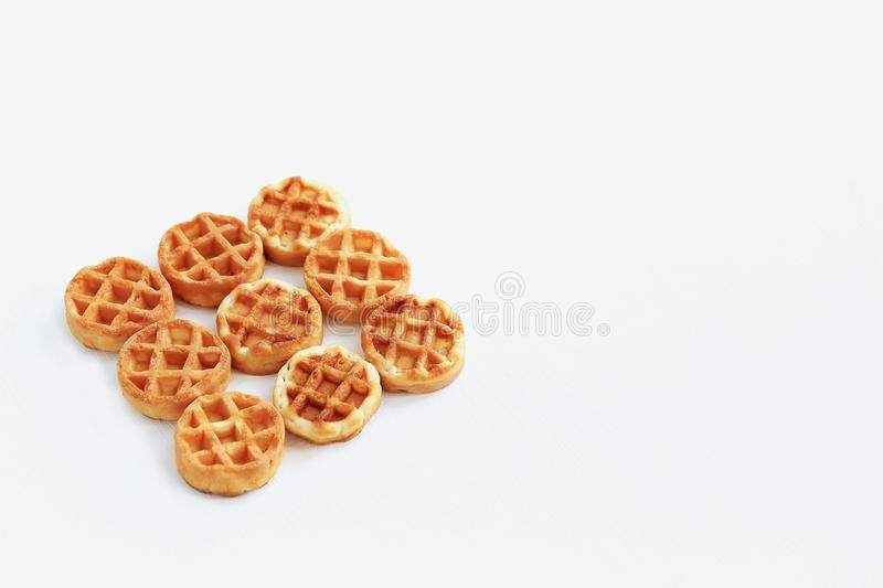 Set of waffles on a white background stock photos
