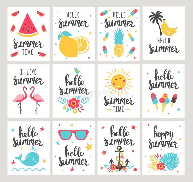 Set wakacje letni karty Ręka rysujący piękni plakaty ilustracja wektor