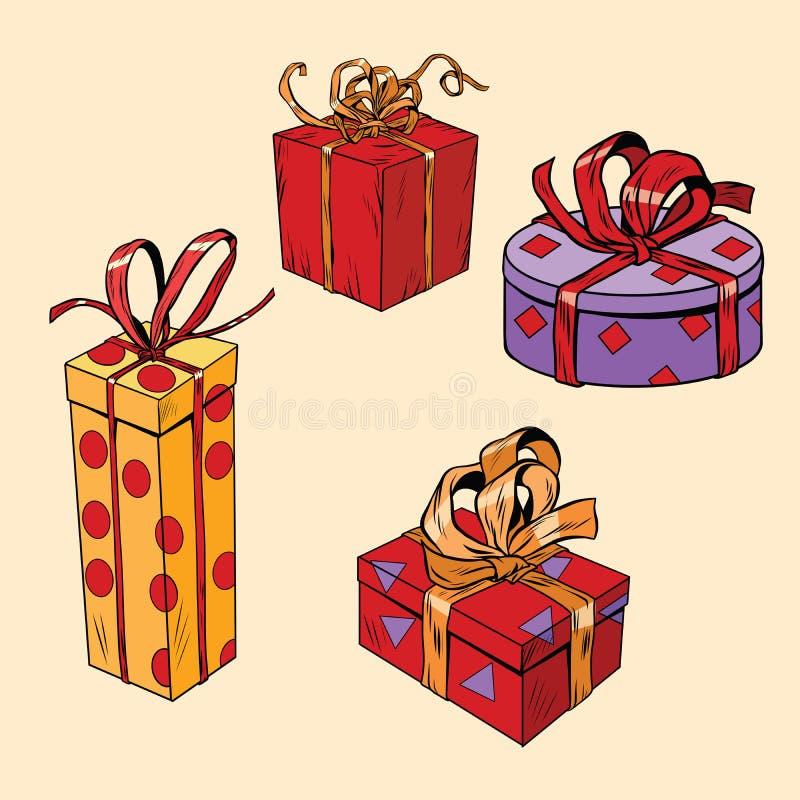 Set wakacyjni Bożenarodzeniowi pudełka z prezentami ilustracja wektor