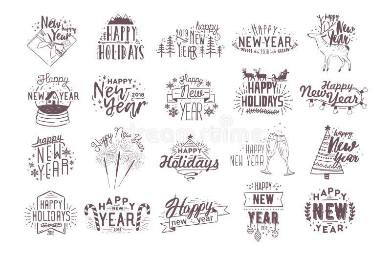Set wakacyjny Szczęśliwy Nowy 2018 rok ręcznie pisany literowanie dekorował z ręka rysującymi tradycyjnymi świątecznymi atrybutam ilustracja wektor