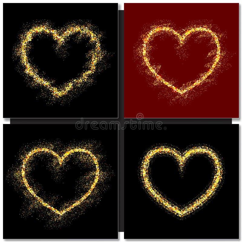 Set walentynka dzień grępluje tło z złocistym sercem ilustracji