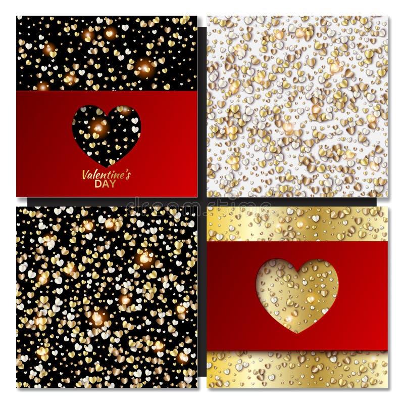 Set walentynka dzień grępluje tło z złocistym sercem royalty ilustracja