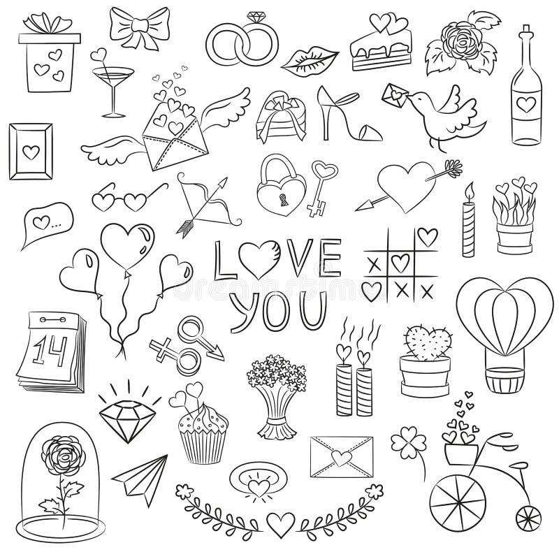 Set walentynki doodle elementy na białym tle ilustracja wektor