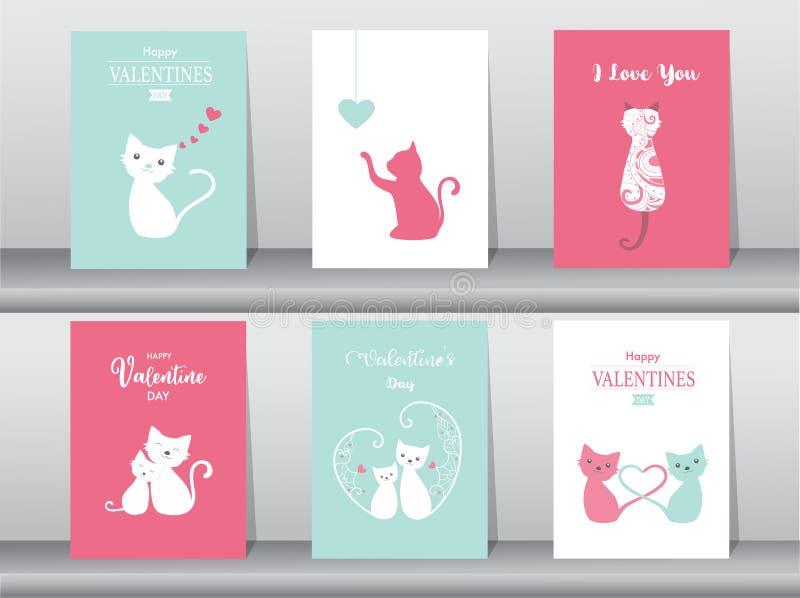 Set walentynki ` s dnia karta, deseniowy projekt, miłość, śliczna ilustracja wektor