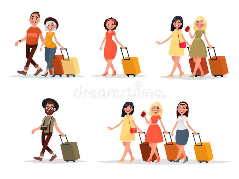 Set walking airplane passengers. Man, woman, friends with luggage on an isolated background. stock illustration