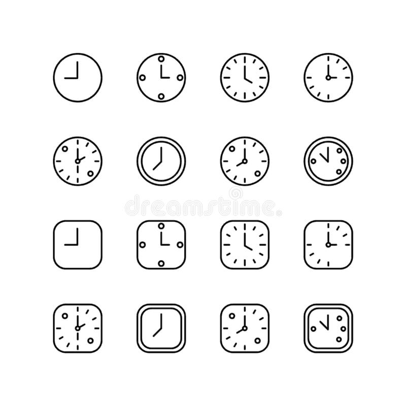 Set of wall clock line icon design, black outline vector icons, isolated against the white background, time mark vector. vector illustration