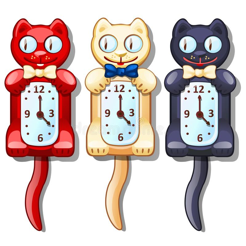 Set of wall clocks with funny cats. Interior decoration for game stuff or other design needs. Vector illustration. In cartoon style isolated on white background vector illustration