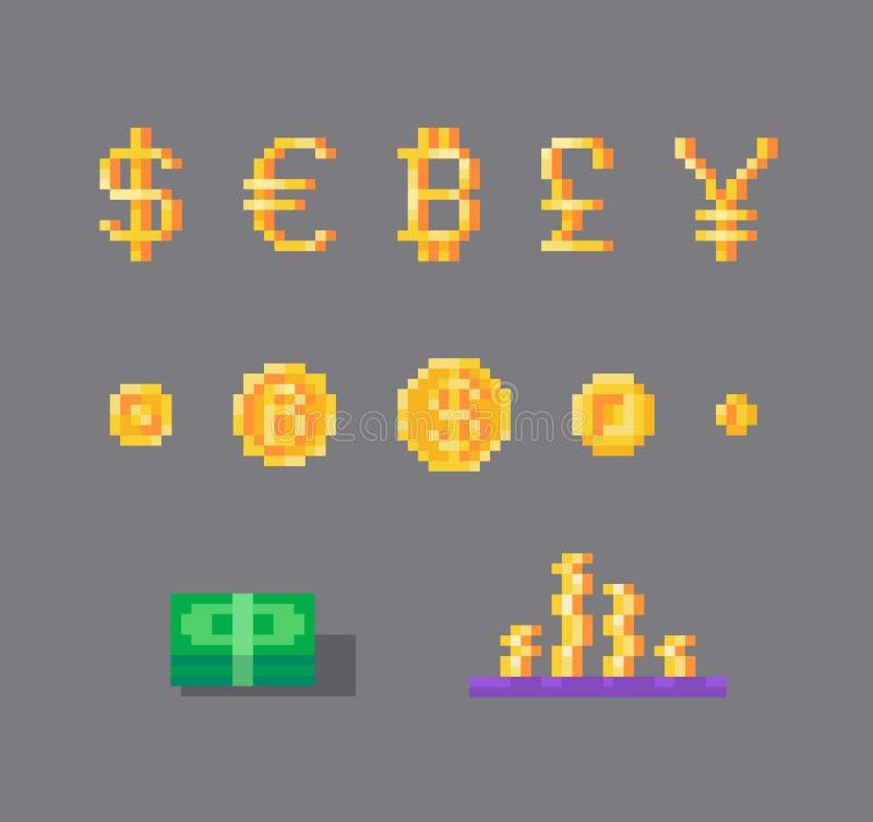 Set walut monety i symbole royalty ilustracja