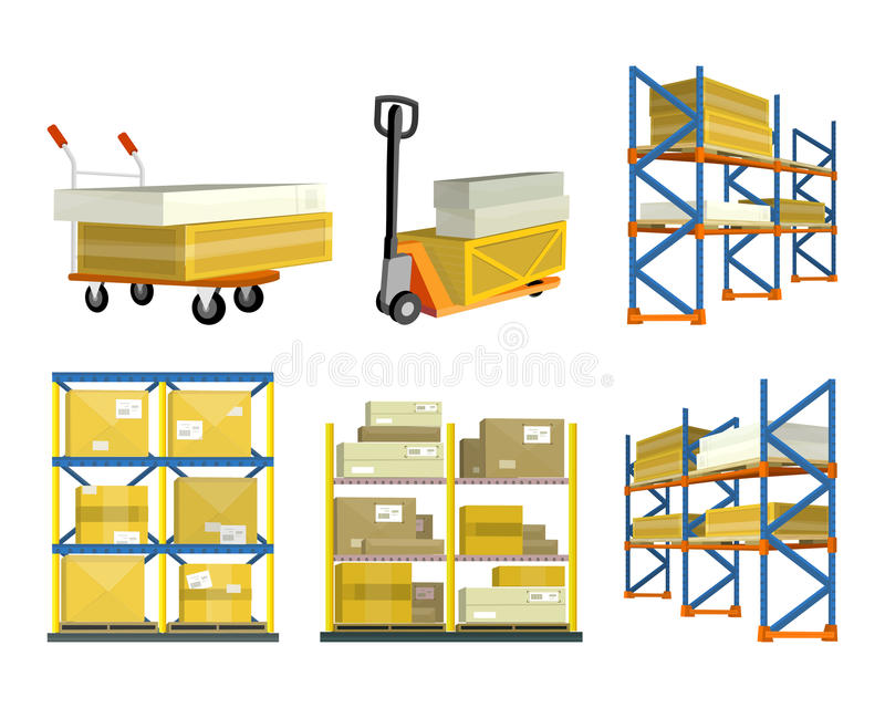 Set of Warehouse Elements. Warehouse and forklift truck, shelf with cartoon box. Logisti and factory building exterior, business delivery, logistics, storage royalty free illustration