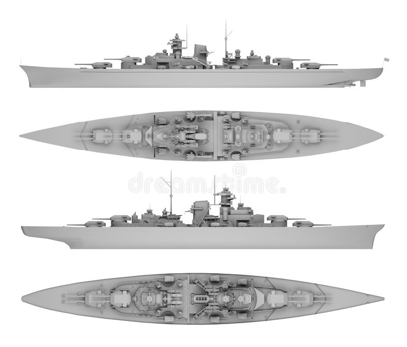 Set warship in gray. Side view and top view isolated on white. 3d rendering stock illustration