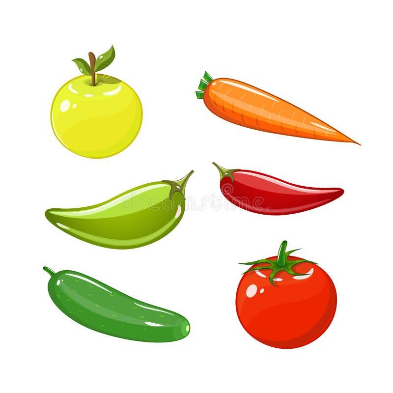 Set warzywa ustawiający pomidory, marchewki, ogórki, jabłka i pieprze, ilustracja wektor