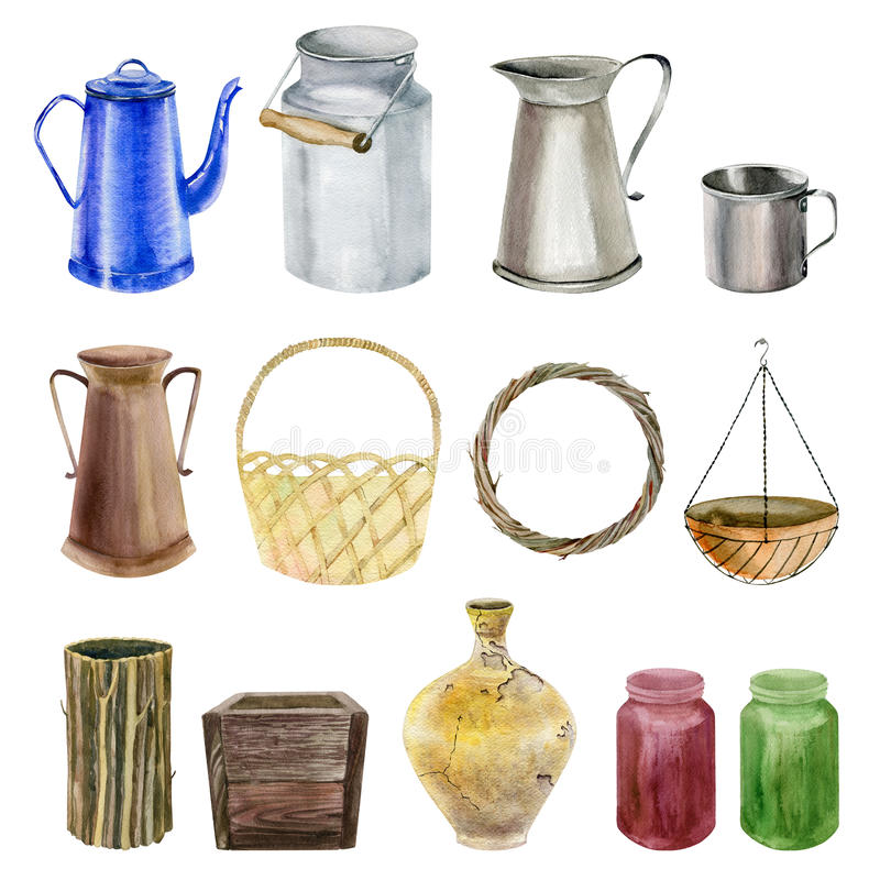 Set of watecolor cliparts of jars. Set collection arrangement poster of hand painted drawn watercolor cliparts of jars and jugs vector illustration