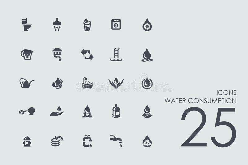 Set of water consumption icons vector illustration