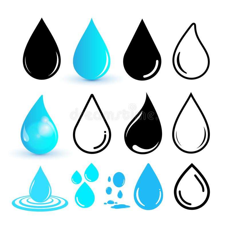 Set of water drop icon. Drop line icon. Flat design. Vector illustration. Isolated on white background royalty free illustration