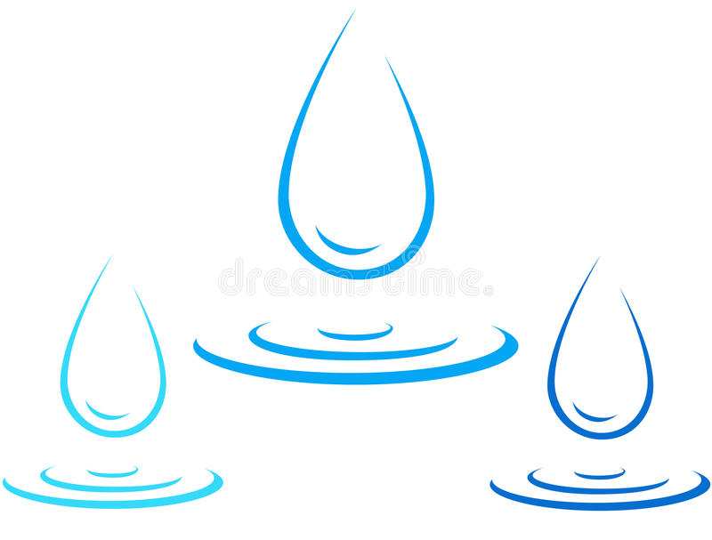 Set of water drop icon with splash royalty free illustration