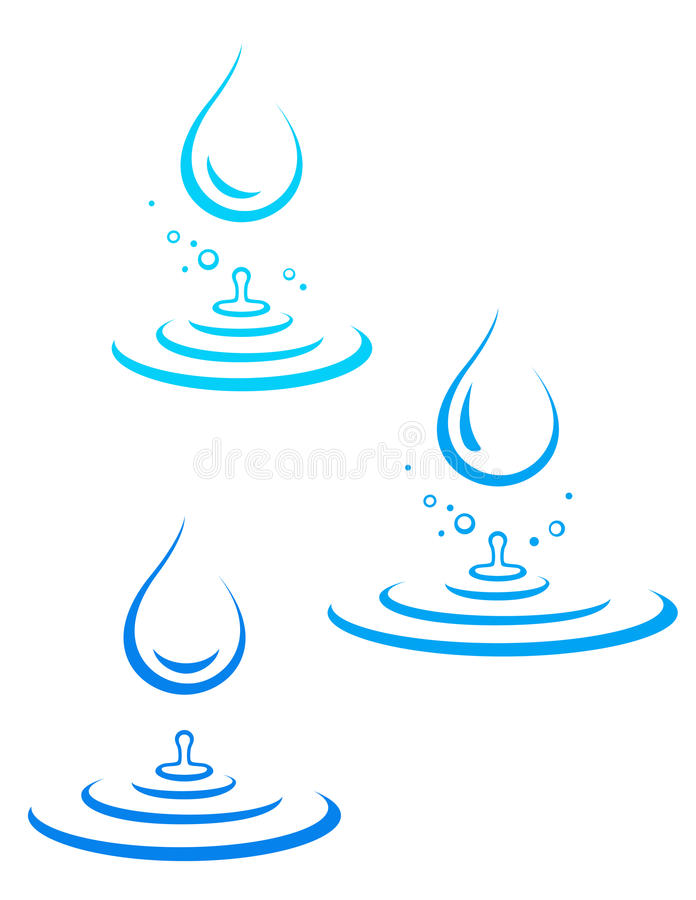 Set of water drop icons and splash stock illustration