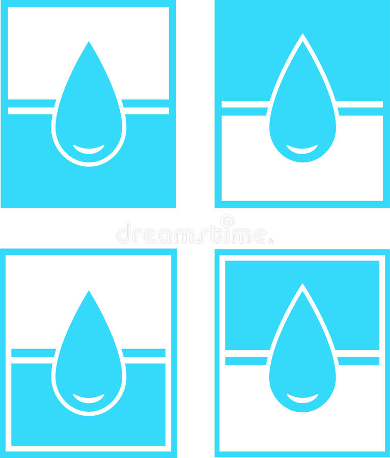 Set Of Water Drop Sign In Frame Royalty Free Stock Photo