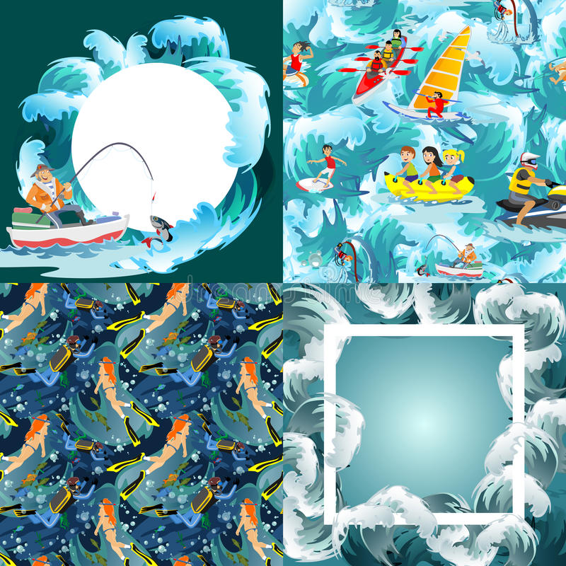 Set of water extreme sports backgrounds, design elements for summer vacation activity fun concept, cartoon wave royalty free illustration