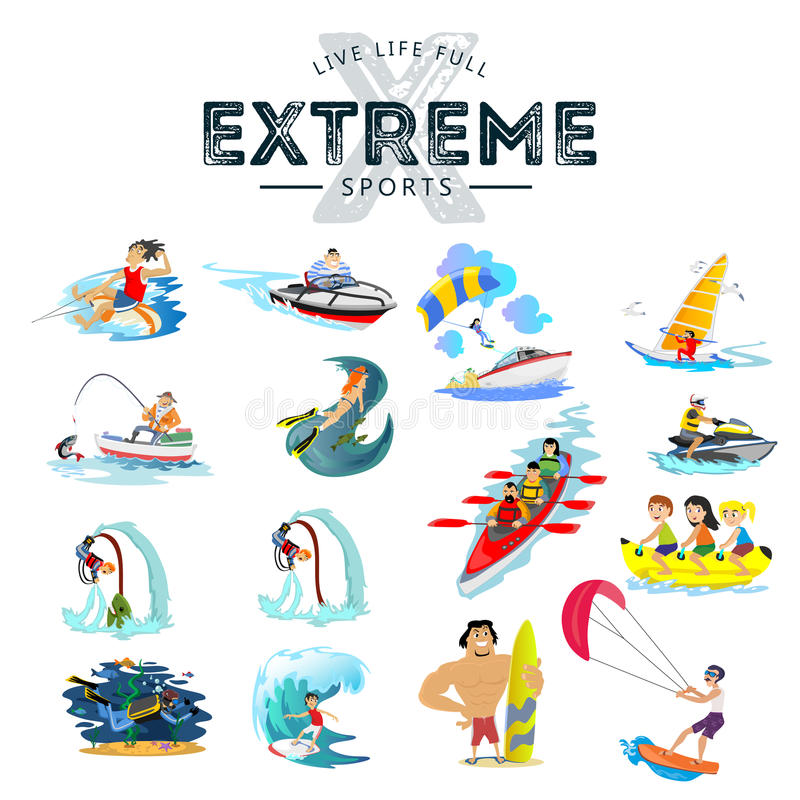 Set of water extreme sports icons, isolated design elements for summer vacation activity fun concept, cartoon wave royalty free illustration