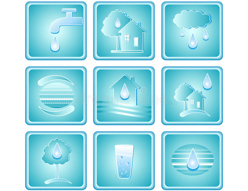 Download Set of water icons stock vector. Image of logo, button - 21253829
