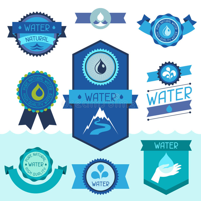 Set of water labels, badges and stickers. Set of water labels badges and stickers stock illustration