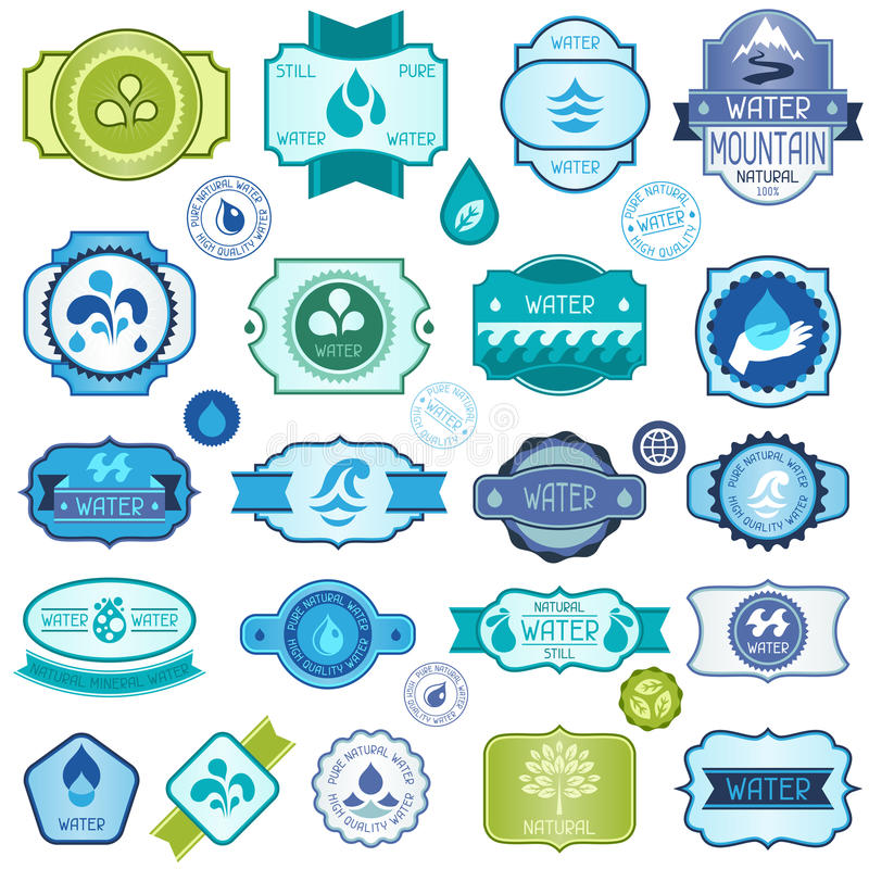 Set of water labels, badges and stickers.  stock illustration