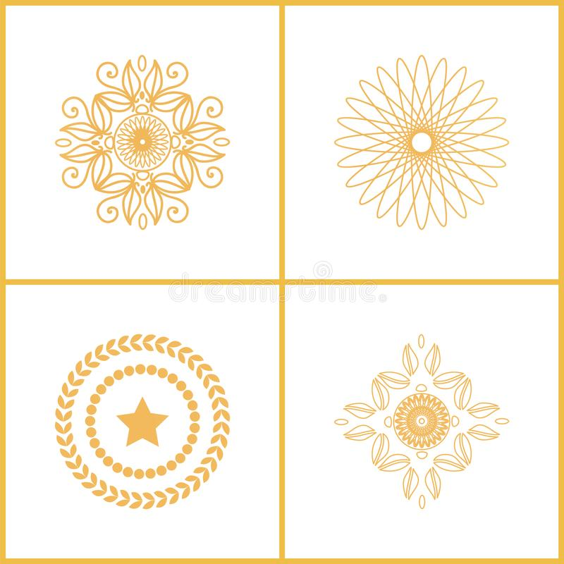 Set Water Marks Golden Seals Star Laurel Branches. Set of water marks golden seals with star, laurel branches abstract graphic elements vector set exclusive royalty free illustration